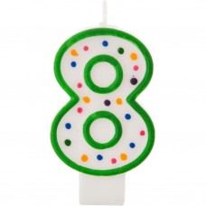 Vela cumpleaños número 8 Borde Verde Puntos Wilton