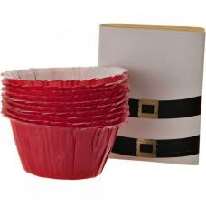 Juego de 12 pirutines de papel Santa Cinturón Rojo Wilton