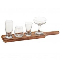 Juego de 5 piezas vaso y copa para postre con base de madera Novo
