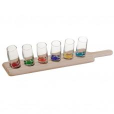Juego de 7 piezas vaso shot multicolor con base Novo