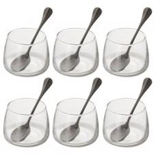 Juego de 12 piezas vaso redondo con cuchara para postre Novo