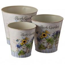 Juego de 3 macetas decorativas redondas Herb Garden Haus