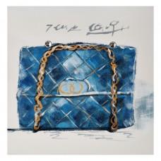 Cuadro Cartera Azul/Dorado 30 x 30 cm