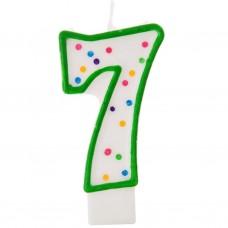 Vela cumpleaños número 7 Borde Verde Puntos Wilton