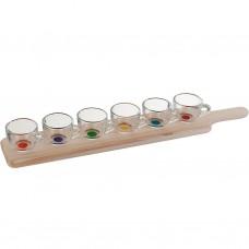 Juego de 7 piezas tazas postre multicolor con base Novo