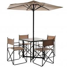 Juego de 6 piezas mesa, 4 sillas y parasol Hierro / Madera