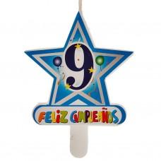 Vela Número 9 Estrella