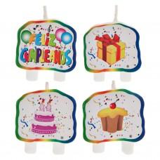 Juego de 4 velas Feliz Cumpleaños
