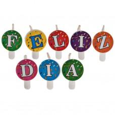 Juego de 8 velas letras Feliz Día