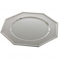 Plato base de hierro cromado Octagonal Silver