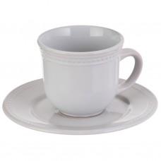 Juego de taza y plato de cerámica Filo Bolas Blanco Haus