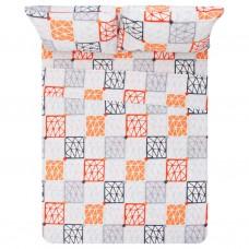 Juego de sábanas Estampado Arabesco Naranja / Gris 144 hilos polialgodón Prisma